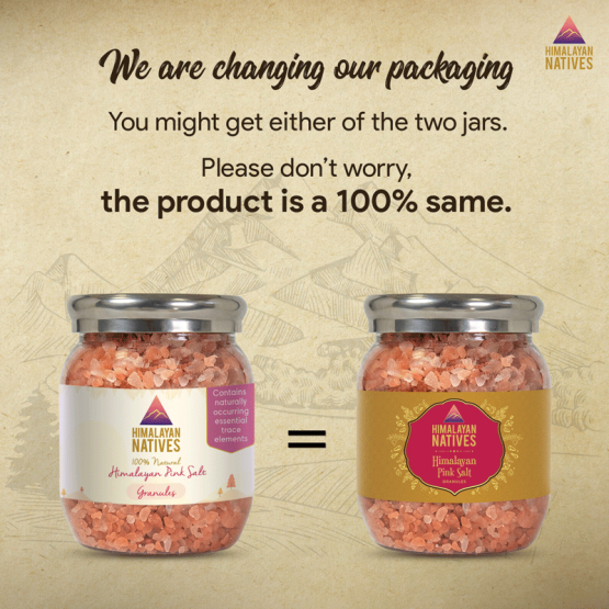Pink Salt Granules Old and New Package