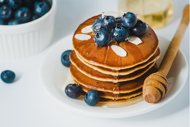 Raw Honey Blueberry Pancakes